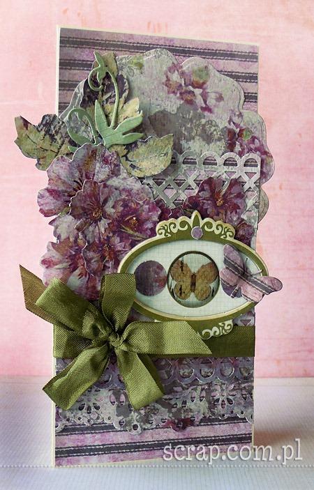ręcznie robiona kartka z kwiatami